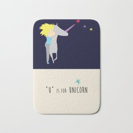 Alphabet Art, U is for Unicorn Bath Mat