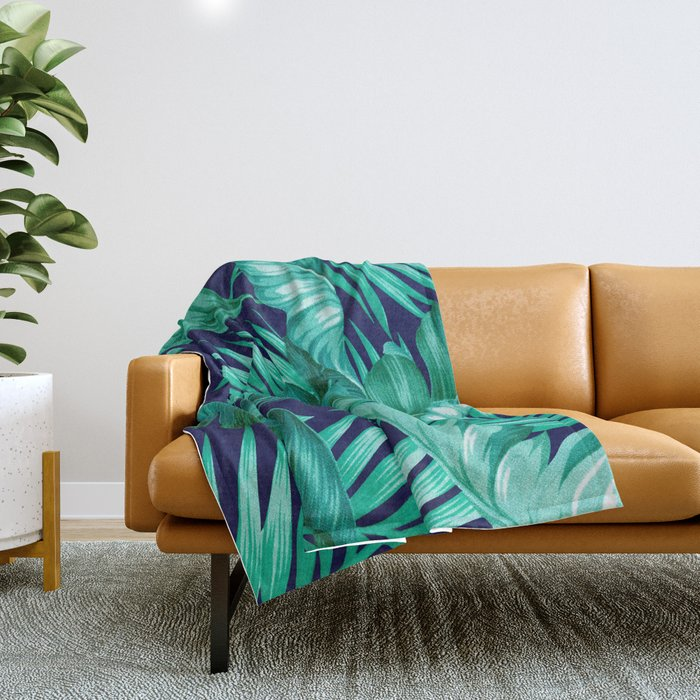HAWAIIAN GARDEN TROPICAL LEAVES | turquoise navy Throw Blanket