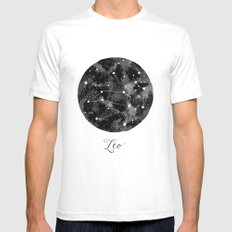 Leo Constellation Mens Fitted Tee SMALL White