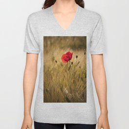 Poppies in a summerfield - Flowers Floral Unisex V-Neck