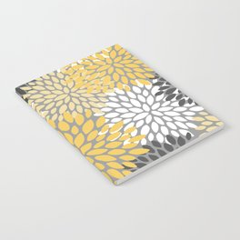 Modern Elegant Chic Floral Pattern, Soft Yellow, Gray, White Notebook