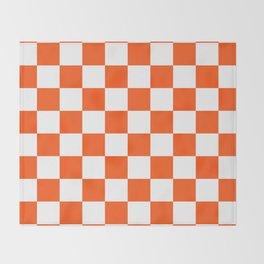 Cheerful Orange Checkerboard Throw Blanket