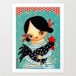Rooster Friend Not Food cute chicken art by Tascha Art Print