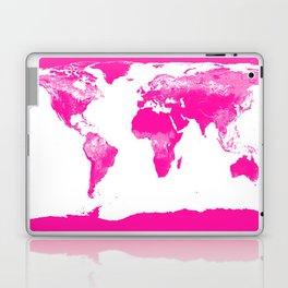World Map Hot Pink Laptop & iPad Skin