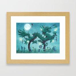 Dragon Topiary - Night  Framed Art Print