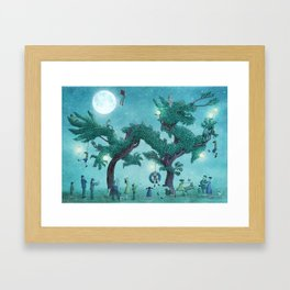 Dragon Topiary - Night Framed Art Print