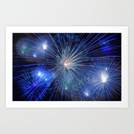 Bright Blue and White Fireworks Art Print