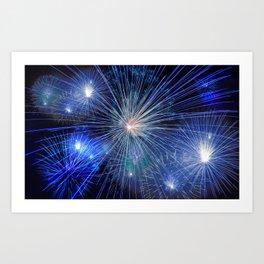 Bright Blue and White Fireworks Art Print