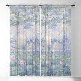 Water Lilies Claude Monet Fine Art Sheer Curtain