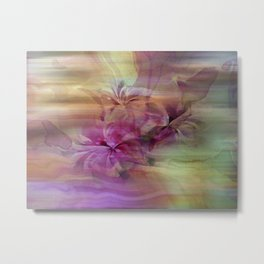Sunset Painterly Floral Abstract Metal Print