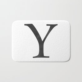 Letter Y Initial Monogram Black and White Bath Mat