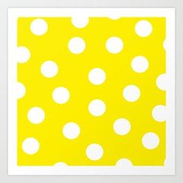 Polka Dots - Aureolin and White Art Print
