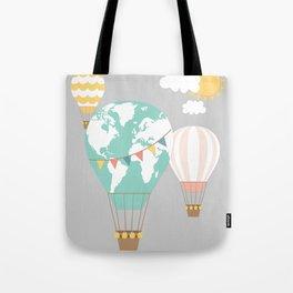 World map hot air balloons Tote Bag