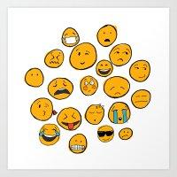 emoji Art Prints featuring Emoji Family by Jason Travis