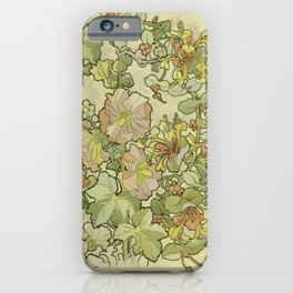 """Alphonse Mucha """"Printed textile design with hollyhocks in foreground"""" iPhone Case"""