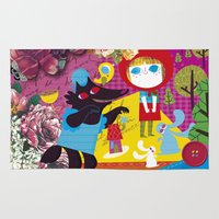 red riding hood Area & Throw Rugs featuring little red riding hood by genie espinosa