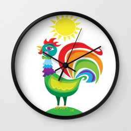 Rainbow Rooster Wall Clock