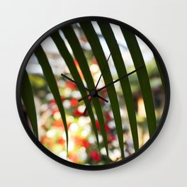 Through the Palm Tree Leaves Wall Clock