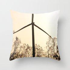 Sunrise with Wind Turbines  Throw Pillow
