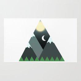 Graphic Minimalist Mountain Scene Rug