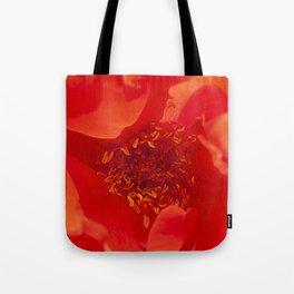 Majestic Fiery Red Flower Macro Photo Tote Bag