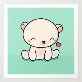 Kawaii Cute Polar Bear With Heart Art Print
