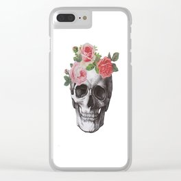 Skull & Roses Clear iPhone Case