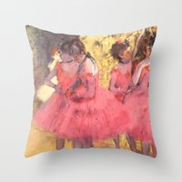 degas Throw Pillows featuring The Pink Dancers Before the Ballet by PureVintageLove