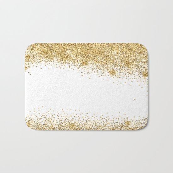 Sparkling golden glitter confetti effect II #Society6 Bath Mat
