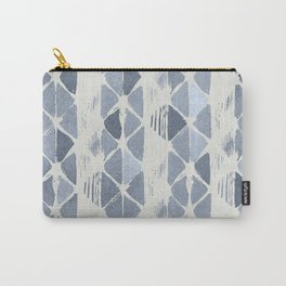 Simply Braided Chevron Indigo Blue on Lunar Gray Carry-All Pouch