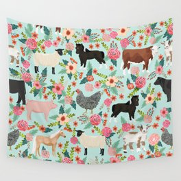Farm animal sanctuary pig chicken cows horses sheep floral pattern gifts Wall Tapestry