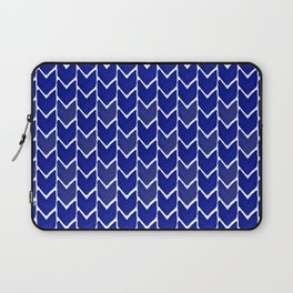 Chevron indigo blue painting watercolor abstract minimal modern brushstrokes painterly decor dorm Laptop Sleeve