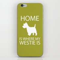 westie iPhone & iPod Skins featuring Westie Dog Sihouette Art by pigknit