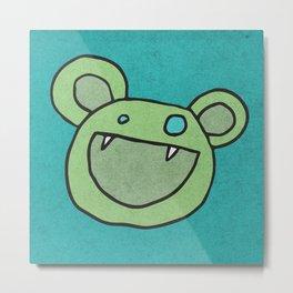Slightly Amused Monsters, V Green Metal Print