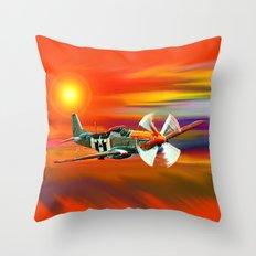 P 51 Mustang Cadillac of the sky Throw Pillow