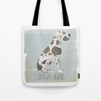 great dane Tote Bags featuring Great Dane by 52 Dogs
