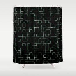 Green neon mosaic technology pattern Shower Curtain