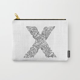 Floral Type - Letter X Carry-All Pouch