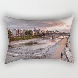 Evening walk along the Kamo River in Kyoto Rectangular Pillow