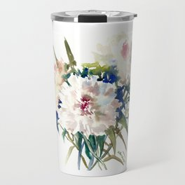 White Peonies, Asian Watercolor design Garden Peonies White lofral art Travel Mug