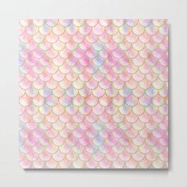 Pastel Iridescent Mermaid Scales Pattern Metal Print