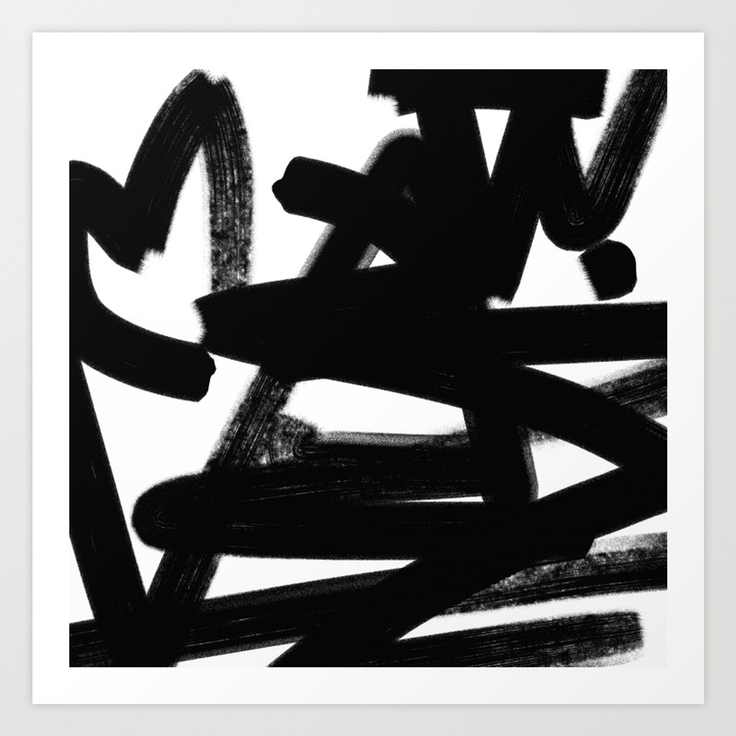 Thinking out loud black and white abstract painting raw brush strokes art print