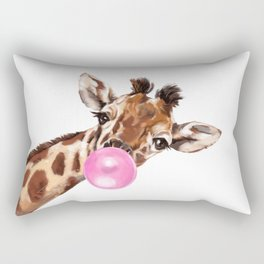 Bubble Gum Sneaky Giraffee Rectangular Pillow