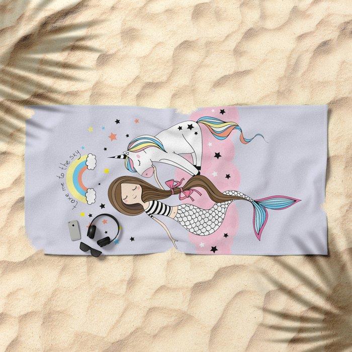 Mermaid & Unicorn Beach Towel