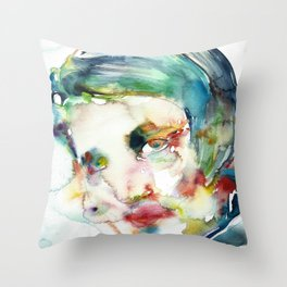 AYN RAND - watercolor portrait Throw Pillow