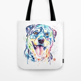 Rottweiler Pet Portrait Colourful Watercolor Painting Tote Bag