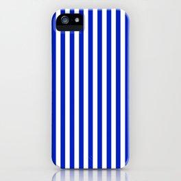 Cobalt Blue and White Vertical Deck Chair Stripe iPhone Case