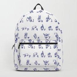 ASL Alphabet // Blue Backpack
