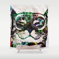 posters Shower Curtains featuring Watercolor Cat Painter - Prints and posters by Robert R by Splashy Art