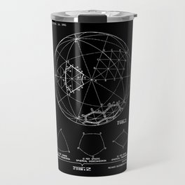 Buckminster Fuller 1961 Geodesic Structures Patent - White on Black Travel Mug